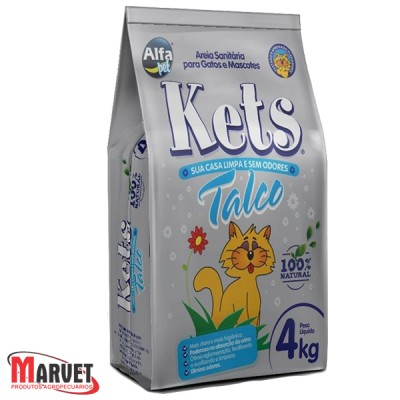 Areia Sanitária Para Gatos Kets Perfumada Talco - 4kg