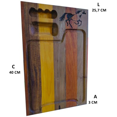 Tábua para churrasco com porta petisco - detalhe cavalo